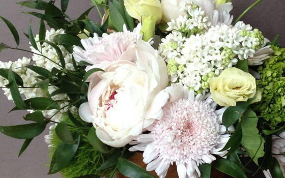 McEwan Blushes and pinks floral arrangements