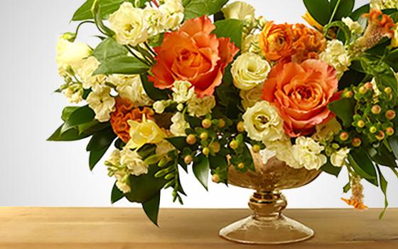 McEwan Citrus hues floral arrangements