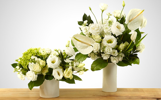 McEwan Classic Whites and greens floral arrangements
