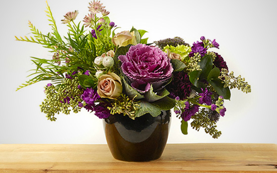McEwan Purple, mauve and magenta floral arrangement