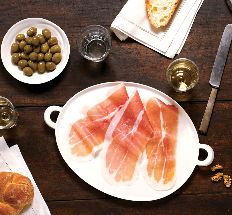 Platter of Prosciutto, Olives, Bread