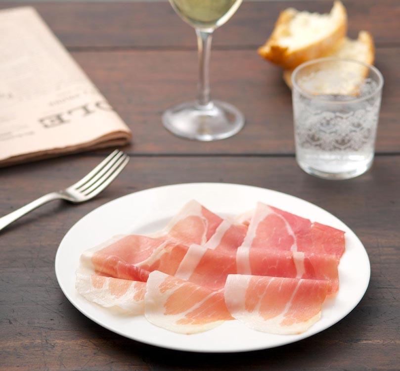 Platter of Prosciutto, Wine, Bread